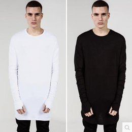 Wholesale Spring and Autumn Lengthen Cotton Basic Men T Shirts Hip Hop Fashion Kanye Trill Thumbhole Arc Hem Men Casual Tee Black Grey White S XL