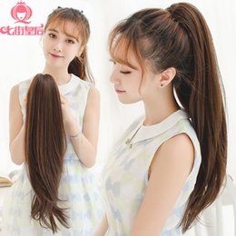 The new wig ponytail realistic female long hair wig piece then grasping cramping Pear straight hair slightly curled fake ponytail
