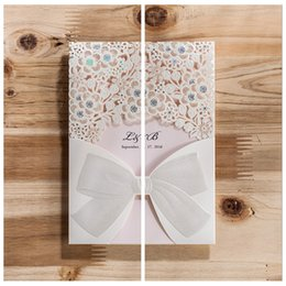 Wholesale Beautiful Flowers Hollow Laser Cut Wedding Invitations Cards Custom Made Wedding Suppliers Cards Bow Adorned For Bridal Wedding