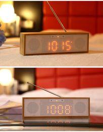 Cajas de madera relojes en venta-Bambú de madera Nuevo portátil Mini Bluetooth altavoz 4.5W estéreo caja de sonido Mp3 reproductor de música inalámbrico manos libres radio FM, NFC, AUX, despertador