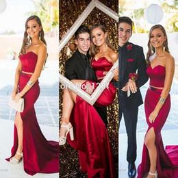 2016 Elegant Long Burgundy Two Piece Prom Dresses Sexy Side Slit 2 Piece Prom Dresses Evening Dress Ballkleider