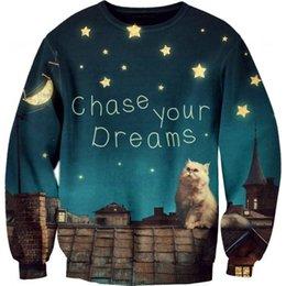 Wholesale Sky roof tiles Galaxy Cat chase your dreams Print Sweatshirt Women Man Casual Hot Sale Hoodies Fashion Sportwear Unisex Tops