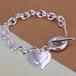 Hot sale gift 925 silver Double heart brand TO Bracelet DFMCH284, Brand new fashion sterling silver plate Chain link bracelets high grade