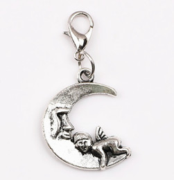 Wholesale Price Silver Moon with Angel Baby Floating Dangle Charms Pendant with Lobster Clasp For Locket Chain Making