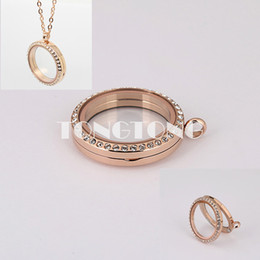 20mm 25mm 30mm 35mm rose gold 316L stainless steel floating glass lockets with czech crystals