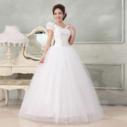 White ball gown wedding dress with short sleeves 2015 floor-length bateau neck beaded bridal gowns