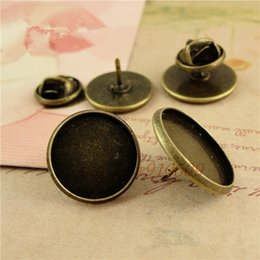 Wholesale antique bronze plated round brooches fit snap press buttons14 mm blank buttons tray setting jewelry findings m922