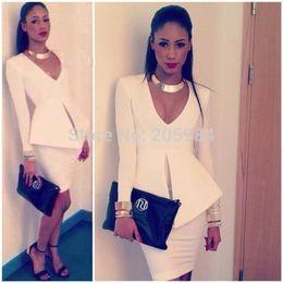Fashion white career V neck long sleeve peplum slim hip OL dress deep V waist split work dress
