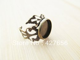 Wholesale Antique Bronze Adjustable Blank Ring Flower Ring Border Round Base Setting Tray Charm Finding fit mm Cabochon Picture Cameo