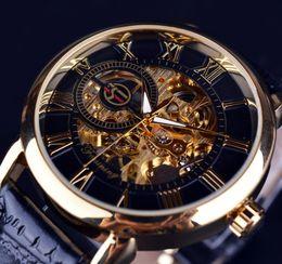 2017 new!Forsining 3d Logo Design Hollow Engraving Black Gold Case Leather Skeleton Mechanical Watches Men Luxury Brand Heren Horloge