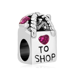 Wholesale Rhodium Plating Antique Shopping Bag Heart Love To Shop Purple Crystal Beads Fit Pandora Charm Bracelet