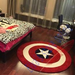 90cm Captain America Shield Carpet Cartoon Circle Handmade Living Room Parlor Hallway Bathroom Mats Rugs Cushion