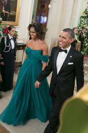 Wholesale MICHELLE OBAMA Green Chiffon Celebrity Evening Dresses A Line Pleated Red Carpet Off the Shoulder Unique Designs Full Length Celebrity Dress