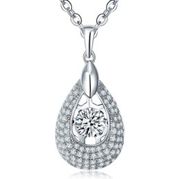 Wholesale Dancing Style Pear Shape Sterling Silver Pendant Necklaces Fashion Fine Jewelry With Cubic Zirconia For best friend DP67410G