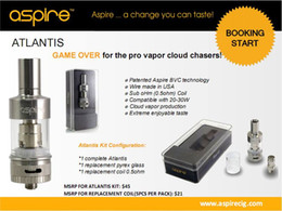 Wholesale Next generation tank Genuine Aspire Atlantis tank raised the bar to new heights Sub ohm low ohm coil with better