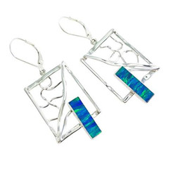 Silver Earrings with double Rectangle opal stone earrings for women handmade jewelry for any occasion for E8036