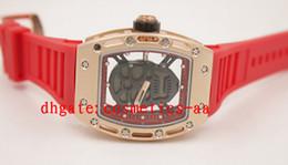 Promotion regarder rose d'or dos cas des hommes d'or de Hot vente! Luxe R / M 052 Skull quartz caoutchouc bande montre montres-bracelets de haute qualité