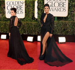 2015 72nd Golden Globe Sexy Black Prom Dress Long Sleeve Keyhole Side Split Chiffon Long Evening Dresses Dhyz 02