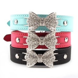 Factory Price! Dog Collar Bling Crystal Bow Leather Pet Collar Puppy Choker Necklace XS S M