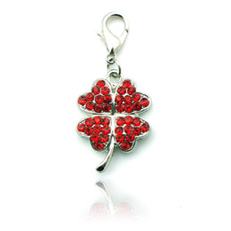 New arrival! Floating Charm Alloy Rhinestone Four Leaf Clover Lobster Clasp Pendants Charms DIY Key Ring Jewelry