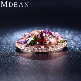 Wholesale MDEAN Colored stone Rose Gold plated ring AAA Zircon diamond Engagement jewelry Classic Round Wedding rings for women MSR216