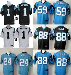 Wholesale Panthers Josh Norman Cam Newton Greg Olsen Luke Kuechly Stitched Jerseys Blue Black