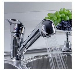 Wholesale US Fast Shipping LightInTheBox Single Handle Low Arc Pull Out Kitchen Sink Faucet with Two Spray Model Chrome order lt no track