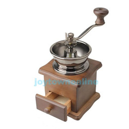 Wholesale Mini Manual Coffee Mill Wood Stand Bowl Antique Hand Coffee Bean Grinder JT A3