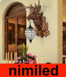 Artisanat villa en Ligne-nimi534 européenne Country Craft Creative Wall Lamp Antlers Villa Bar Deer Head Living Room Lumières Entrée Corridor Aisle Corridor Lighting