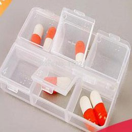 Wholesale Container for tablets first aid kit plastic box Transparent clamshell portable kit six cells pill box pilule box