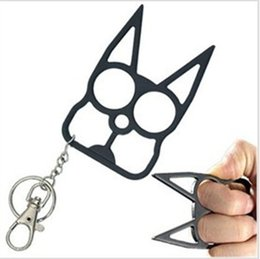Wholesale New Self Defense Kitty Cat Novelty Keychain New Designer Car Key Pendants U Shape Metal Chains for Key Bag Car by DHL NAR041