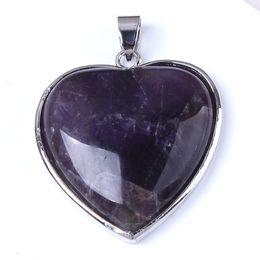 Charm Rose Quartz Opal etc Heart-shape Bead Natural Stone Pendant Accessories Silver Plated Heart Flower European Fashion Jewelry 10Pcs