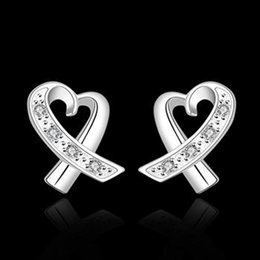 Fashion Hot Sale 925 Silver earrings Solid Heart Charms Lover's women Girl Earrings Nice Christmas Gift