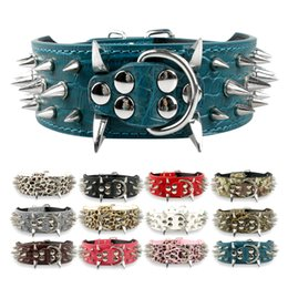 """2"""" Wide Black Leather Spiked Studded Dog Collar For Pit Bull Mastiff Large Breeds"""