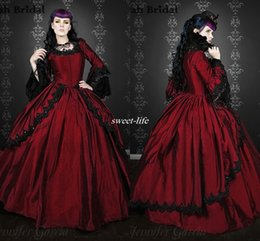 Wholesale Red and Black Long Sleeve Wedding Dresses Plus Size Ball Gown Ruffles Taffeta Lace Jewel Victorian Scary Gothic Wedding Bridal Gowns