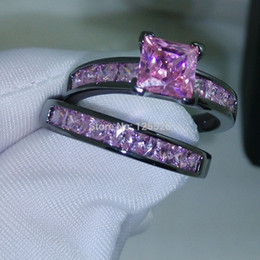 Wholesale 001 Victoria Wieck Antique jewelry Brand Design Pink sapphire KT Black Gold Filled Band Ring Set Sz