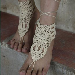 Wholesale Barefoot sandles beach crochet sandal Cream shoe sandle leg decoration hippie sandals wedding bridal party attract everyone s attention