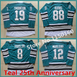 2016 New, New 88 Brent Burns Jersey San Jose Sharks Joe Thornton Jersey 25th Anniversary Teal 12 Patrick Marleau 8 Joe Pavelski Jersey