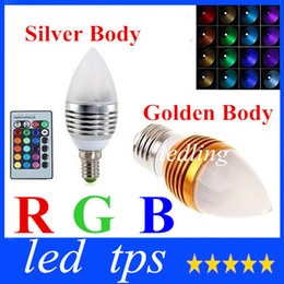 New Arrival RGB E27 E14 5W Led Cande Lights Frosted Cover 16 Colors Change Led Bulbs Light Silver Golden Shell AC220-240V +CE ROHS