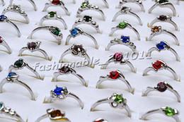 100pcs lot CZ Crystal Rhinestone & Silver P Rings Fashion Alloy Rings Mix Design #R192