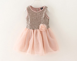 Wholesale High quality Girls sequins tulle lace Sleeveless Dress dresses Baby girls fashion princess Party D big flower tutu dress children s clothes