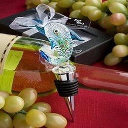 2017 verre bouchons de vin Livraison gratuite + verre de Murano Collection conception de dauphin Bouteille de vin Bouchon Favors + 100pcs / lot + Très bon pour les faveurs de mariage verre bouchons de vin offres