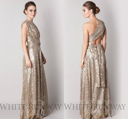 Wholesale Convertible Vintage Glitter Rose Gold Sequins Bridesmaid Dresses Long Custom Made Sparkly Modest Prom Dresses Plus Size Maid Of Honor