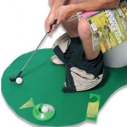 Wholesale Novelty Toilet Time Game Golf Putt Set Mat Practice Potty Putter Bathroom Toy