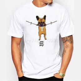 Wholesale Cool Cartoon Shirts - Wholesale-cartoon printed French Bulldog Men t-shirt Hang in there Baby men tops short sleeve casual t shirts hipster funny cool tee