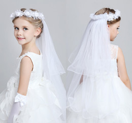 Lovely Garland Headpiece Veils For Girls Kids Princess Garland Flower Girl Headband For Wedding Pink White Flower Girls Hair Accessory