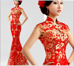 Wholesale red lace fishtail cheongsam dress toast clothing Slim qipao chinese cheongsam traditional chinese dress