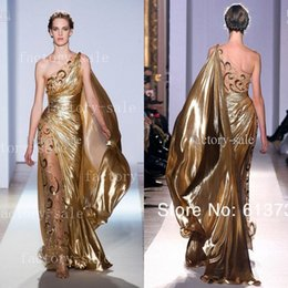 Hot One shoulder Gold Pageant Gowns Zuhair Murad Haute Couture Appliques Shiny Long Evening Dresses 9390
