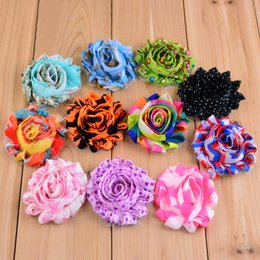 "2.4"" Print Chic artificial shabby frayed Chiffon Flowers Baby Hand Craft Headdress Flower 100pcs lot Free shipping"
