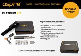 Wholesale - Genuine Aspire Platinum Kit Electronic Cigarette With 2ml Aspire Atlantis Tank And 2000mah Aspire SUB OHM Battery